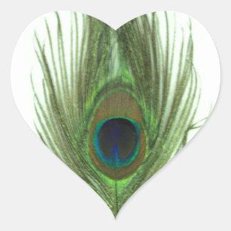 Pluma verde del pavo real pegatinas de corazon