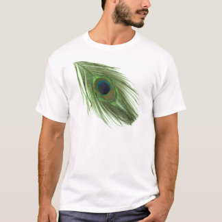Pluma verde del pavo real playera