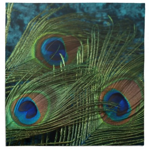 Pluma verde del pavo real servilletas imprimidas