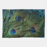 Pluma verde del pavo real toallas