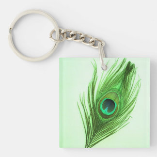 Pluma verde oscuro del pavo real en llave de acríl llavero