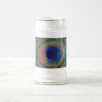 Pluma verde Stein del pavo real Jarra De Cerveza