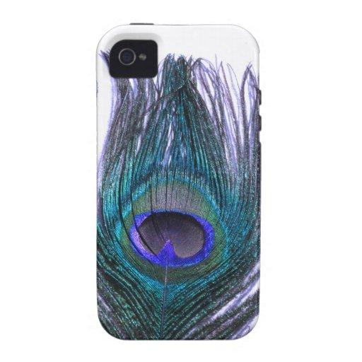 Pluma violeta del pavo real carcasa Case-Mate para iPhone 4