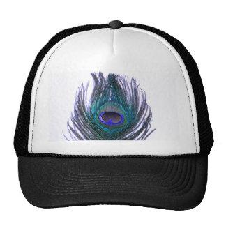 Pluma violeta del pavo real gorro de camionero
