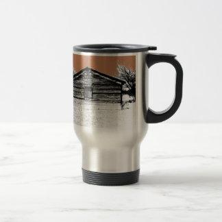 Pluma y establo abandonado tinta taza de viaje de acero inoxidable