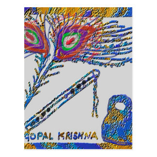 Pluma y flauta - liebre Krishna del pavo real Postal