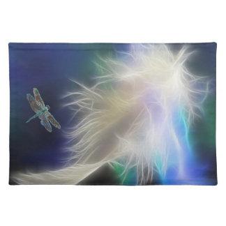 Pluma y libélula del ángel manteles