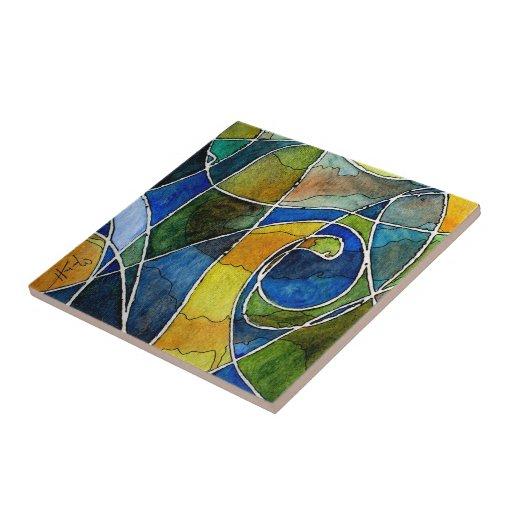 Pluma y tinta abstractas de la acuarela azulejo cuadrado pequeño