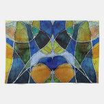 Pluma y tinta abstractas de la acuarela toalla de cocina