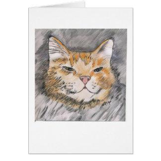 Pluma y tinta con el gato anaranjado de la acuarel felicitaciones