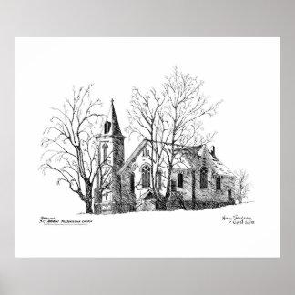 Pluma y tinta de la iglesia presbiteriana de Saint Póster