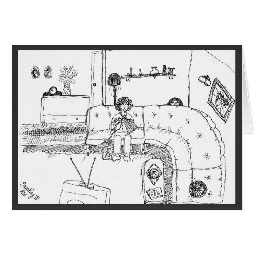 Pluma y tinta de la TV que se escabulle que dibuja Tarjeta
