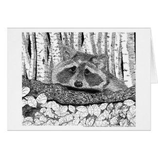 Pluma y tinta del mapache tarjeta de felicitación
