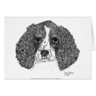 Pluma y tinta del perrito del perro de aguas de sa tarjeta de felicitación
