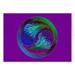 Pluma Yin Yang 5 del pavo real Felicitación