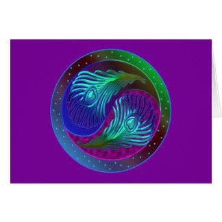 Pluma Yin Yang 5 del pavo real Tarjeta De Felicitación