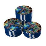 Plumas abstractas del pavo real - arte colorido de fichas de póquer