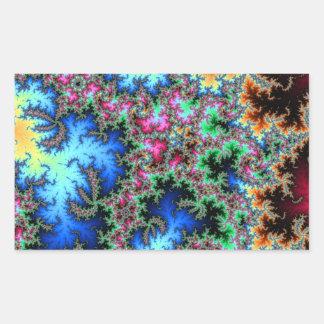 Plumas abstractas del pavo real - arte colorido pegatina rectangular