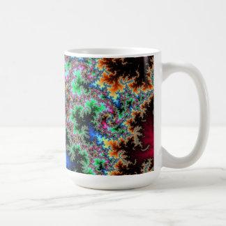 Plumas abstractas del pavo real - arte colorido taza de café