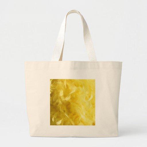 Plumas amarillas grandes bolsa tela grande