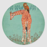 Plumas ambarinas de la jirafa y del búho etiquetas redondas