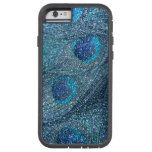 plumas azules brumosas del pavo real del brillo funda de iPhone 6 tough xtreme