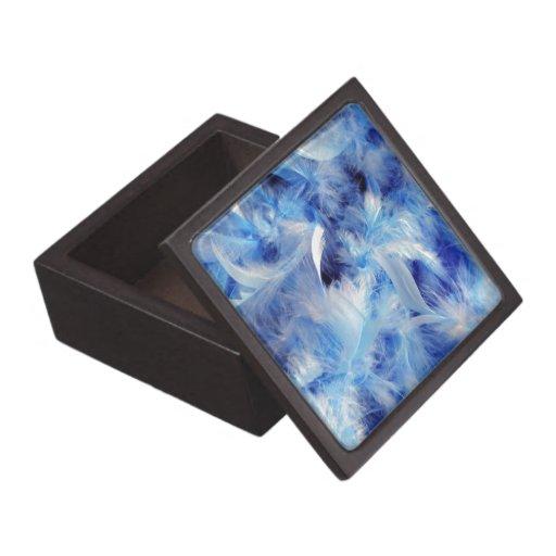 Plumas azules caja de joyas de calidad
