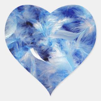 Plumas azules calcomanías corazones