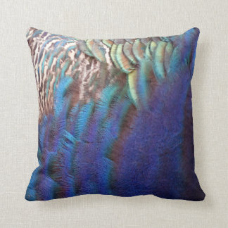 Plumas azules de conexión en cascada del pavo real cojin