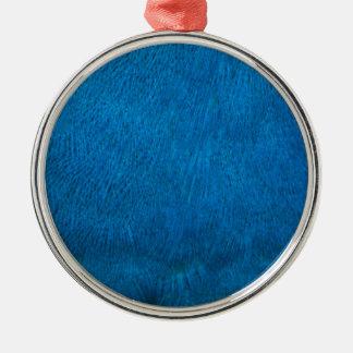 Plumas azules del pavo real adorno redondo plateado