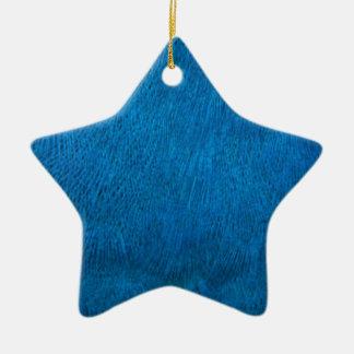 Plumas azules del pavo real adorno de cerámica en forma de estrella