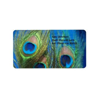 Plumas azules del pavo real etiquetas de dirección