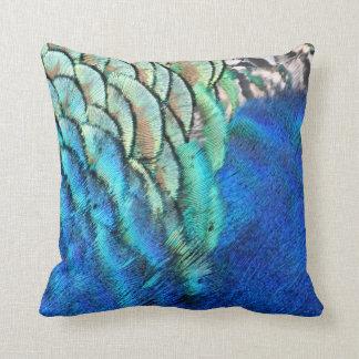 Plumas azules y verdes del pavo real cojín