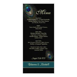 Plumas azulverdes del pavo real en menú negro tarjetas publicitarias
