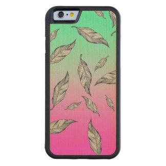 Plumas blancas negras dibujadas mano artsy hermosa funda de iPhone 6 bumper arce