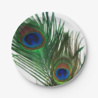 Plumas blancas preciosas del pavo real plato de papel