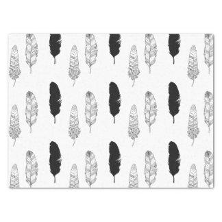 Plumas blancos y negros papel de seda mediano