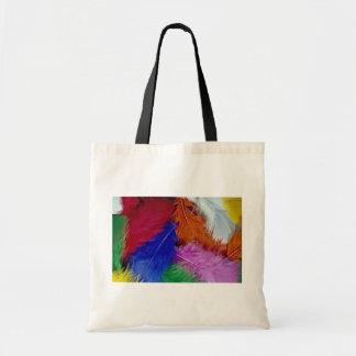 Plumas coloreadas bolsa tela barata