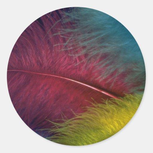 Plumas coloreadas coloridas pegatina redonda