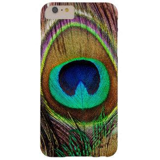 Plumas coloreadas joya hermosa elegante del pavo funda de iPhone 6 plus barely there
