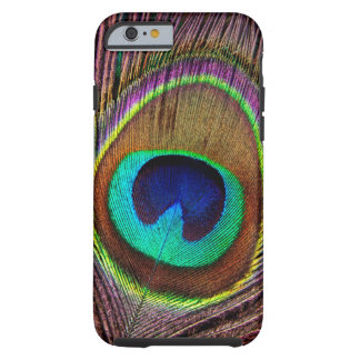 Plumas coloreadas joya hermosa elegante del pavo funda para iPhone 6 tough