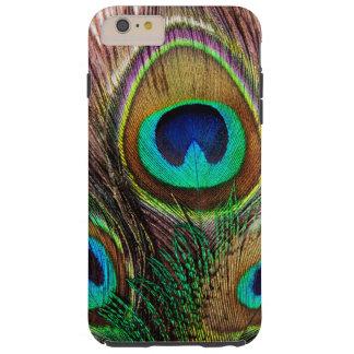 Plumas coloreadas joya hermosa elegante del pavo funda resistente iPhone 6 plus