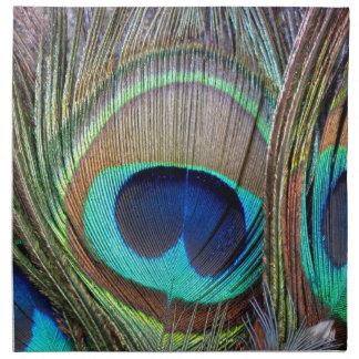 Plumas coloridas hermosas del pavo real servilletas de papel