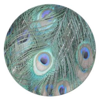 Plumas cristalinas del Peafowl Platos