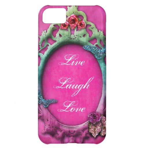 Plumas de la boa del rosa de jardín del arco iris  carcasa para iPhone 5C