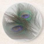 Plumas de moda contemporáneas del pavo real del ©  posavasos para bebidas