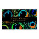Plumas de moda del pavo real tarjetas de visita