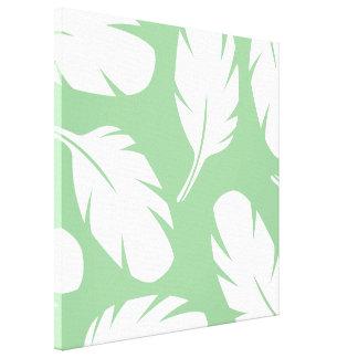 Plumas de pájaro abstractas blancas verdes en impresiones en lona estiradas