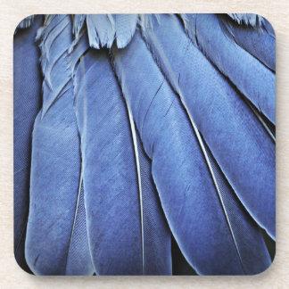 Plumas de pájaro azules posavaso