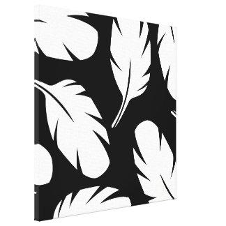 Plumas de pájaro blancos y negros abstractas impresiones en lienzo estiradas